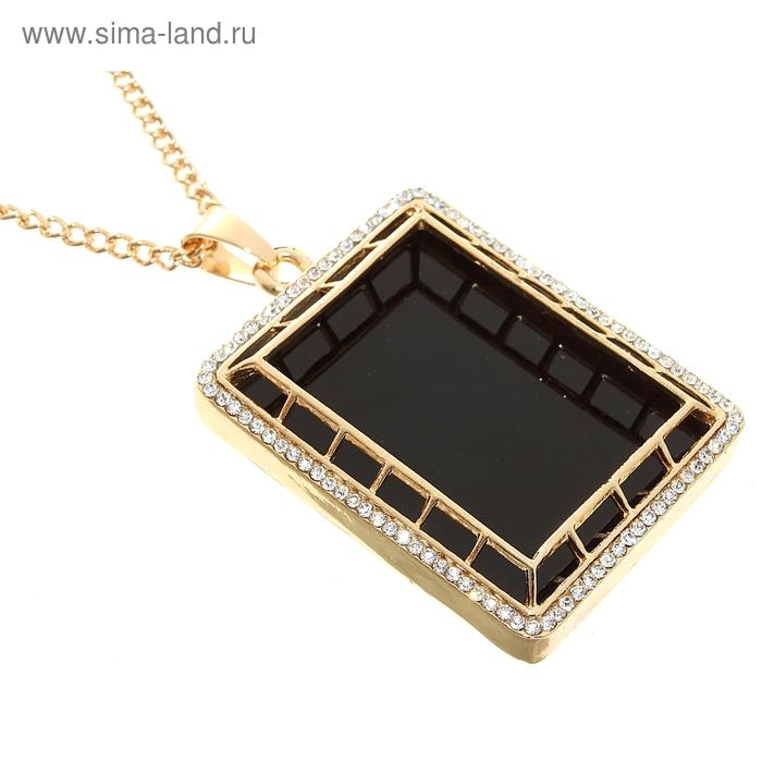 """Кулон """"Прямоугольник"""" цвет черный в золоте, 72см"""