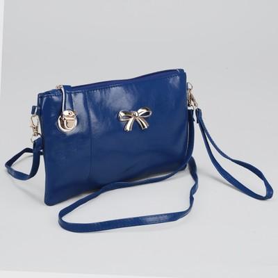Клатч женский, 1 отдел с перегородкой, наружный карман, с ручкой, длинный ремень, цвет синий