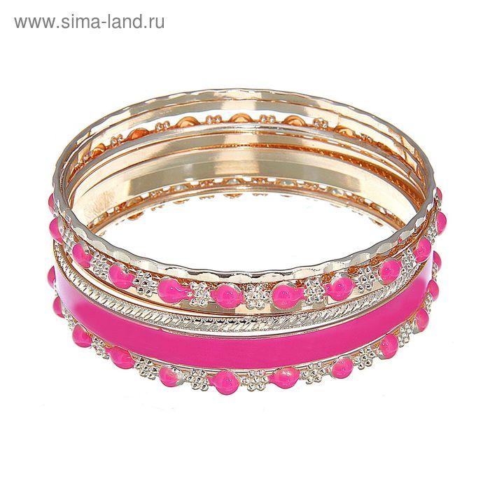 """Браслет-кольца 7 колец """"Кольцо с бусинами"""", цвет тёмно-розовый в золоте"""