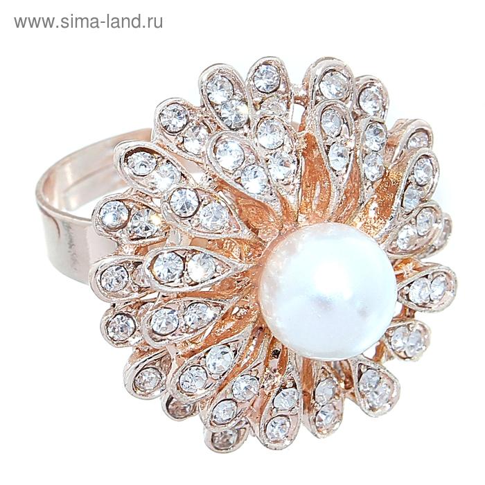 """Кольцо """"Цветок с жемчужиной"""", цвет белый в золоте, безразмерное"""