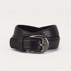 Ремень детский 'Косичка', винт, пряжка под металл, ширина - 2см, 70-90 см, цвет чёрный Ош