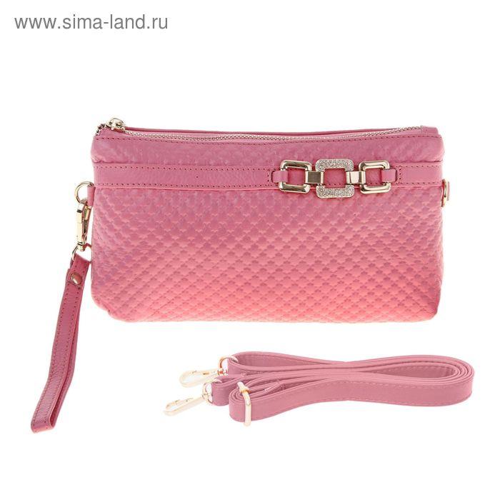 """Клатч """"Ремешок"""", 1 отдел с перегородкой, наружный карман, ручка, длинный ремень, цвет розовый"""