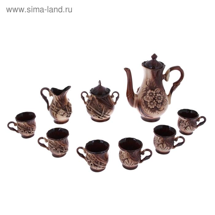 """Кофейный набор """"Орфей"""" 9 предметов: чайник 1,5 л, сахарница 0,7 л, сливочник 0,5 л, чашки 0,35 л"""