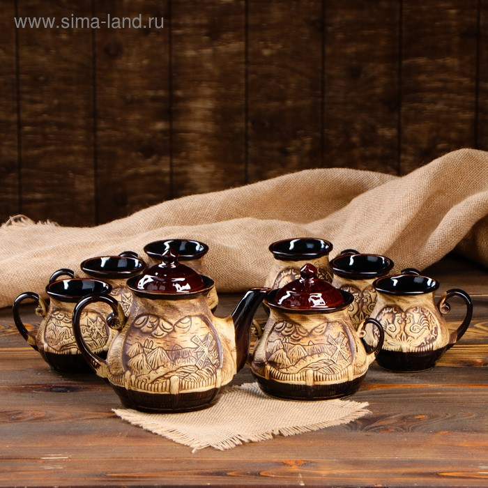 """Чайный набор """"Хуторок"""" 8 предметов: чайник 1,5 л, сахарница 0,7 л, кружки 0,45 л"""