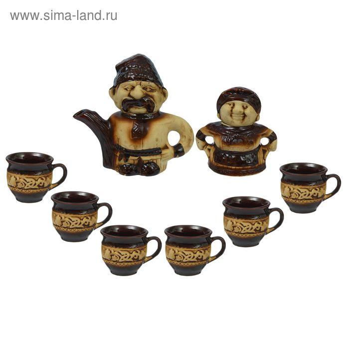 """Чайный набор """"Щедрость"""" 8 предметов: чайник 1,5 л, сахарница 0,7 л, кружки 0,45 л"""