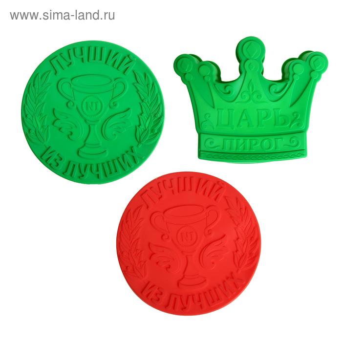 "Форма для выпечки ""Царь пирог"", зеленый, 25 х 7 см, глубина 4,3 см"