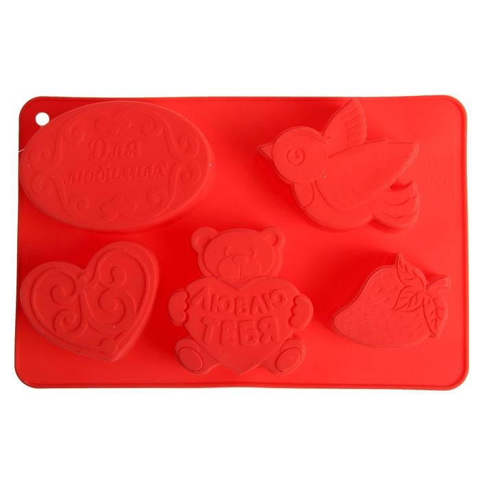 """Форма для выпечки """"Для любимых"""", красный, 27 х 17,5 см, глубина 4,3 см"""