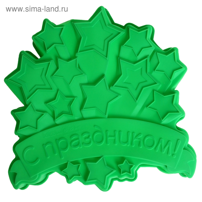 """Форма для выпечки """"С Праздником"""", зеленый, 23 х 23 см, глубина 4,5 см"""