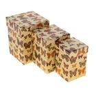 """Набор коробок 3 в 1 крафт """"Бабочки"""", 12,5 х 12,5 х 16 - 8,5 х 8,5 х 12,5 см"""