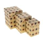 """Набор коробок 3 в 1 крафт """"Ромашки"""", 12,5 х 12,5 х 16 - 8,5 х 8,5 х 12,5 см"""