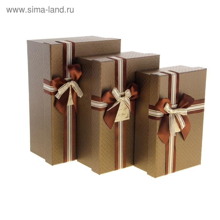 "Набор коробок 3в1 ""Ромбики"", цвет коричневый"
