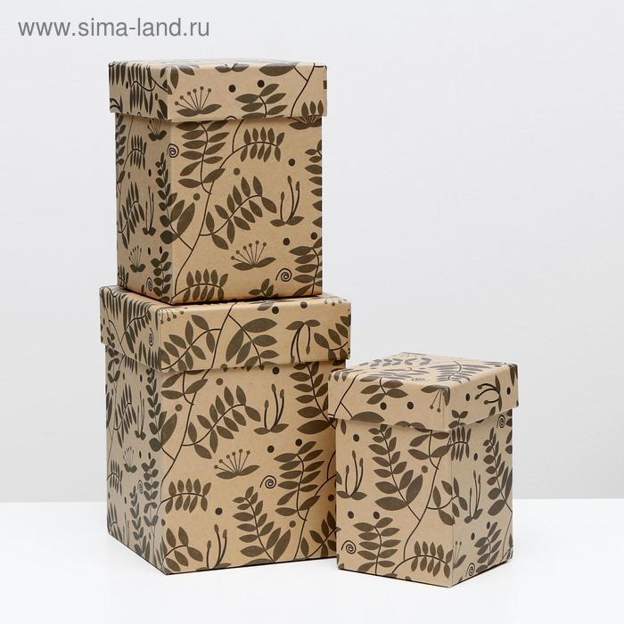 """Набор коробок 3в1 крафт """"Веточки"""", 12,5 х 12,5 х 16 - 8,5 х 8,5 х 12,5 см"""