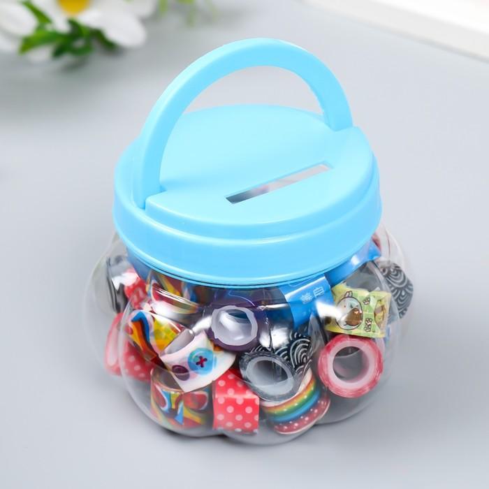 Клейкая лента пластик в банке (набор 40 шт) цвета МИКС, 1,2 смх2,8 м, 6,5х10х10 см