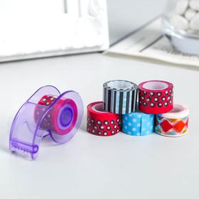 Набор клейкой ленты пластик 6 шт+держатель для скотча, 1,2 смх2,8 м, 8х10 см, МИКС
