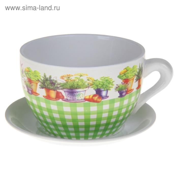 """Кашпо-чашка """"Зелёная клетка"""" 2 л"""