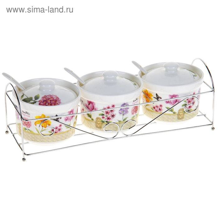 """Набор из 3-х банок 350 мл для сыпучих продуктов """"Бабочка в цветах"""" с ложками"""