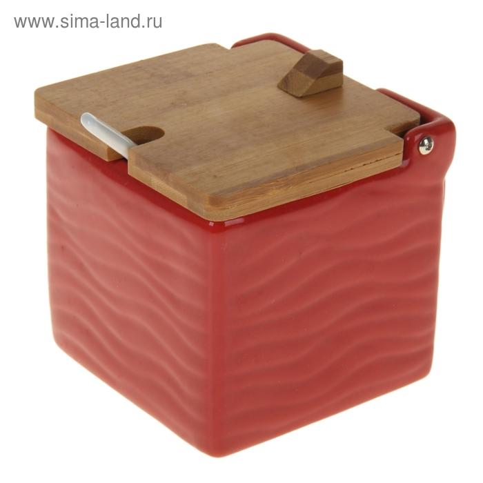 "Банка для сыпучих продуктов 1 л ""Акцент"" 16х11х11 см, цвет красный"
