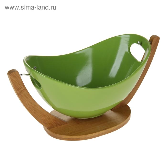"""Салатник 1,3 л на подставке """"Акцент"""" 33х16,5х16 см, цвет зеленый"""