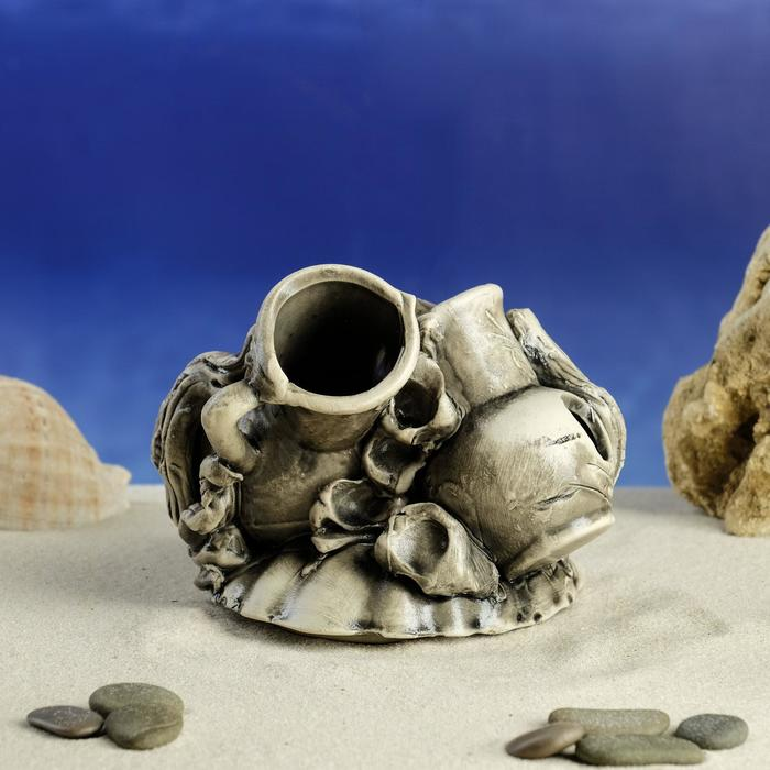 Декорация для аквариума ''Кувшин на ракушке'', 13 х 14 х 10 см, микс