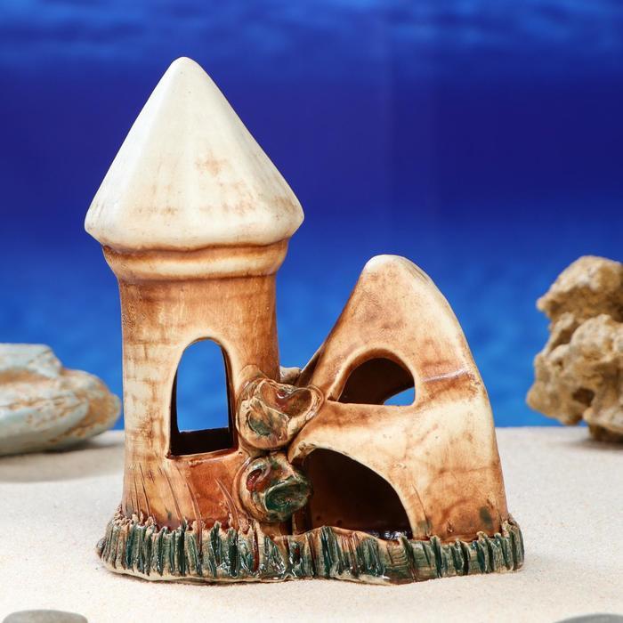 "Декорация для аквариума ""Башня со скалой'', 17 см, микс"
