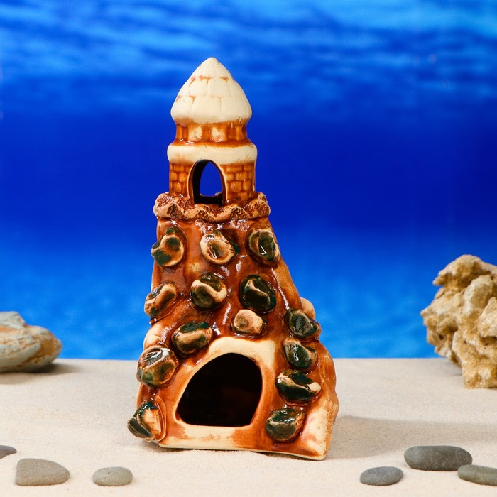 """Декорация для аквариума """"Башенка на скале"""", 12 х 13 х 21 см, микс"""