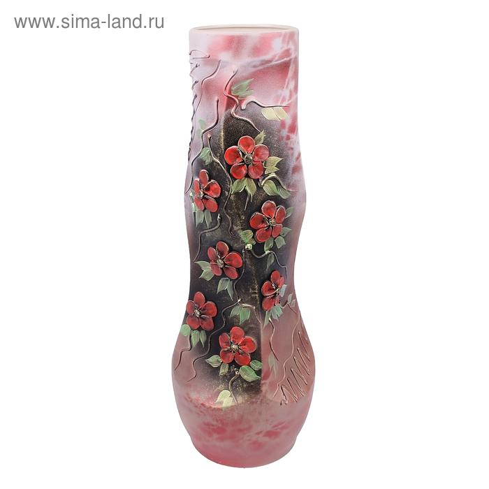 "Ваза напольная ""Свеча"" лепка, цветы, красно-серая"