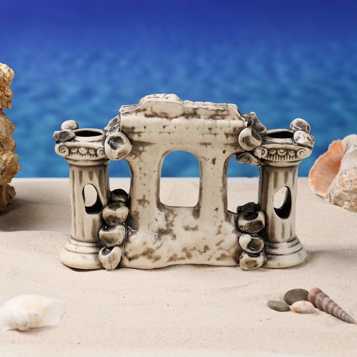 """Декорации для аквариума """"Грот с колоннами"""" коричневый"""