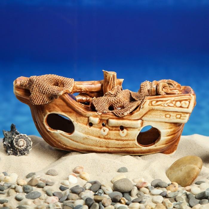 """Декорация для аквариума """"Корабль средний"""", 8 х 24 х 11 см, микс"""