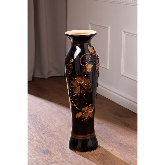 """Ваза напольная """"Азиза"""" декор, цветы, тёмно-коричневая, пена"""
