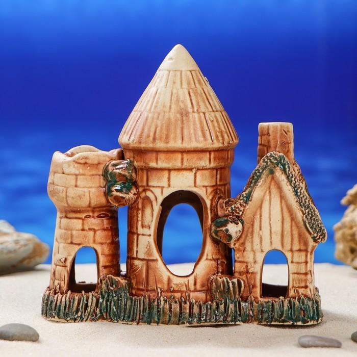 """Декорация для аквариума """"Домик с двумя башнями'', 16 см, микс"""