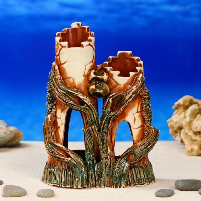 """Декорация для аквариума """"Башни с деревом"""", 8 х 14 х 18 см, микс"""