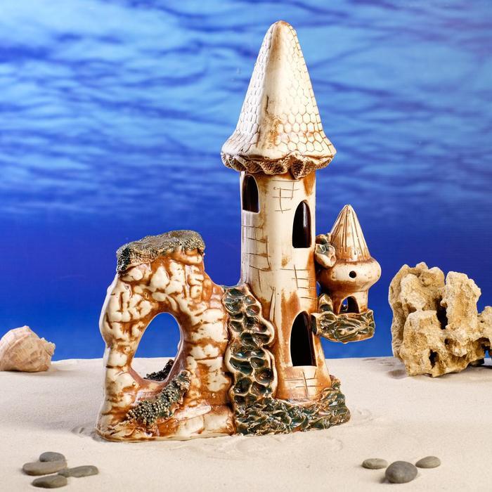 "Декорация для аквариума ""Замок с вулканом"", 18 х 25 х 34 см"