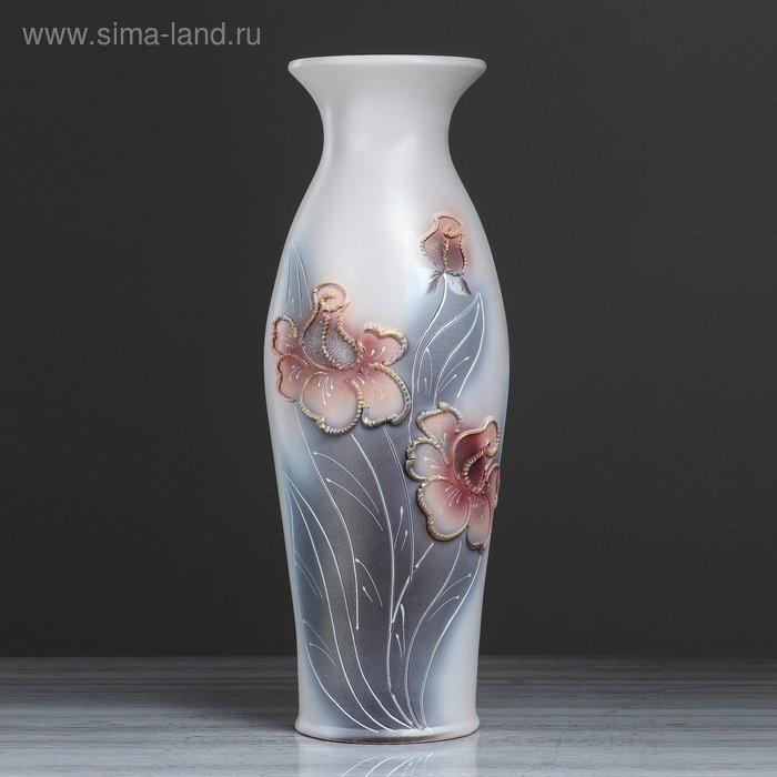 """Ваза напольная """"Эллада"""" декор цветы, глазурь, коричневая"""