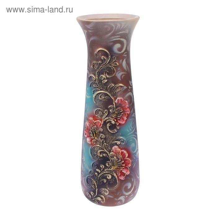 """Ваза напольная """"Варвара"""" цветы, лепка, коричнево-серая"""