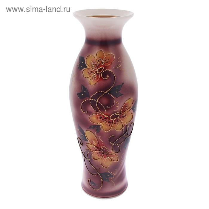 """Ваза напольная """"Эллада"""" декор цветы, глазурь, сиреневая"""
