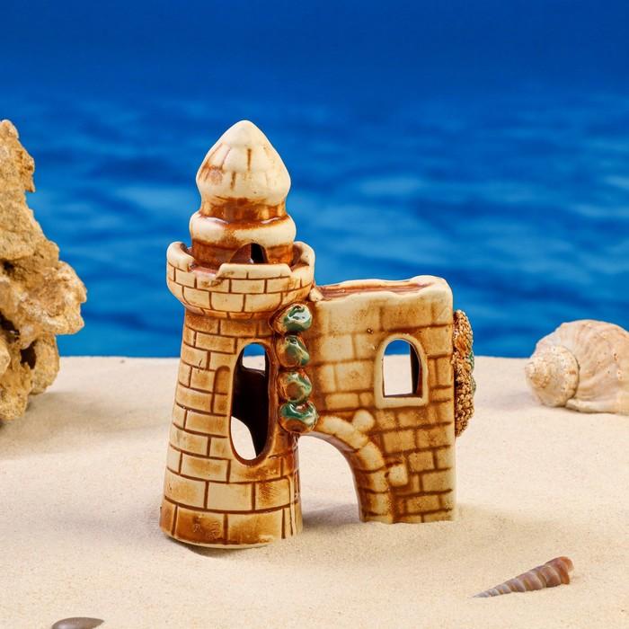 """Декорация для аквариума """"Башня с гротом"""" микс"""