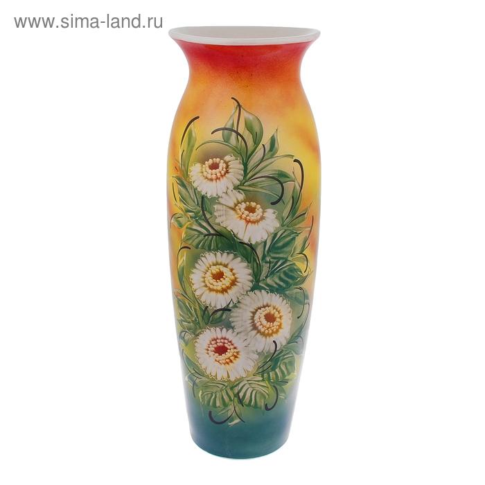 """Ваза напольная """"Луиза"""" цветы, радуга, жёлто-красная"""