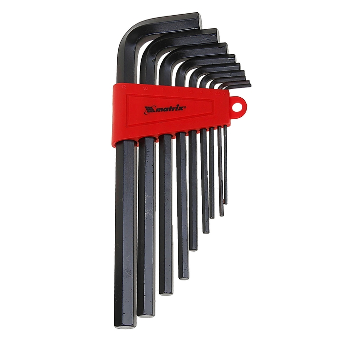 Набор ключей имбусовых MATRIX, 2,0–12 мм, 9 шт , оксидированные, удлиненные