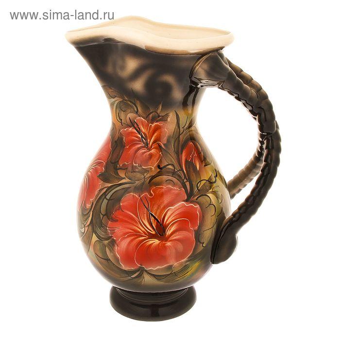 """Ваза напольная """"Кувшин"""" красные цветы, чёрная"""