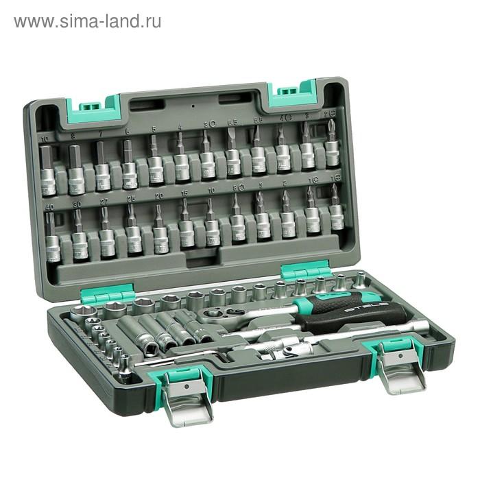 "Набор инструментов Stels, 1/4"", в пластиковом кейсе, 57 предметов"