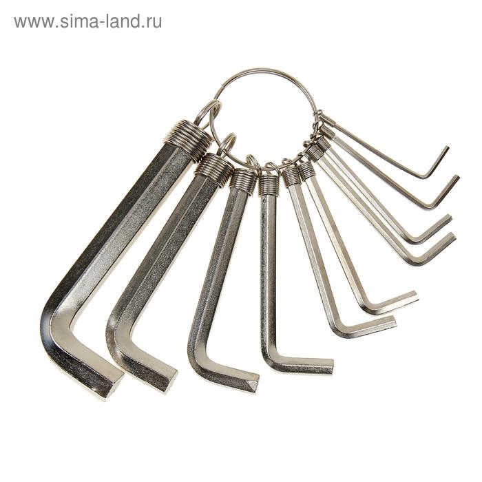Набор ключей имбусовых Sparta, 1.5–10 мм, 10 шт, никелированный, на кольце