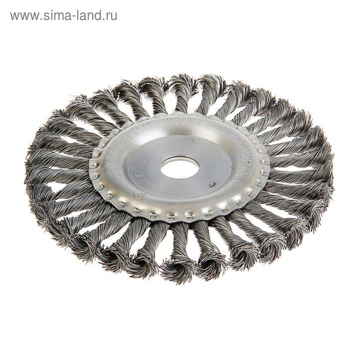 Щетка для УШМ MATRIX, 175 мм, посадка 22,2 мм, плоская, крученая металлическая проволока