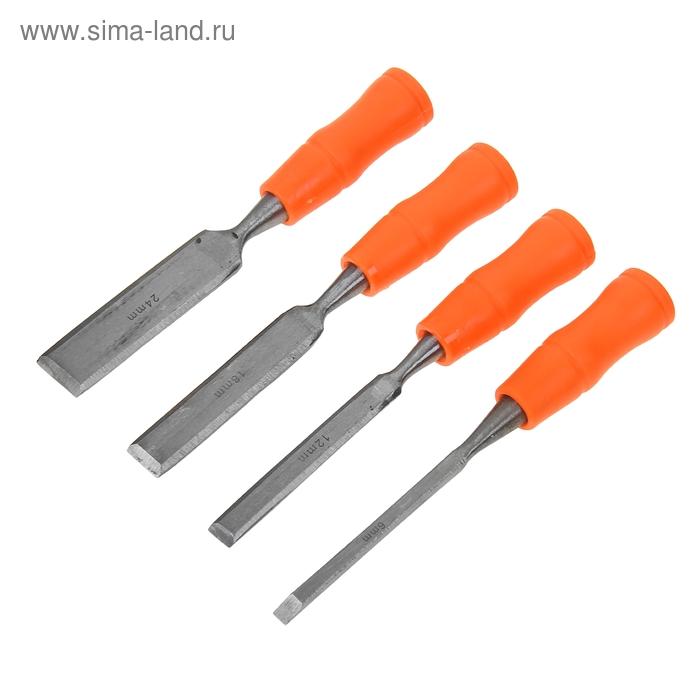Набор стамесок Sparta, 4 шт, 6-12-18-24 мм, плоские, пластиковые ударные рукоятки