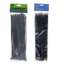 """Хомуты """"Сибртех"""", 300 х 3.6 мм, пластмассовые, черные, в упаковке 100 шт."""