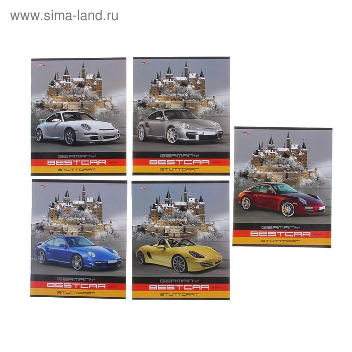 """Тетрадь 36 листов клетка """"Немецкое авто"""", обложка картон хромэрзац, 5 видов МИКС"""