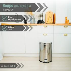 Ведро для мусора с педалью Доляна, 20 л, нержавеющая сталь