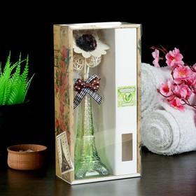 """Набор подарочный""""Эйфелева башня""""(ваза, 2 палочки с шариками, декор, аромамасло 30 мл) зелёный чай"""