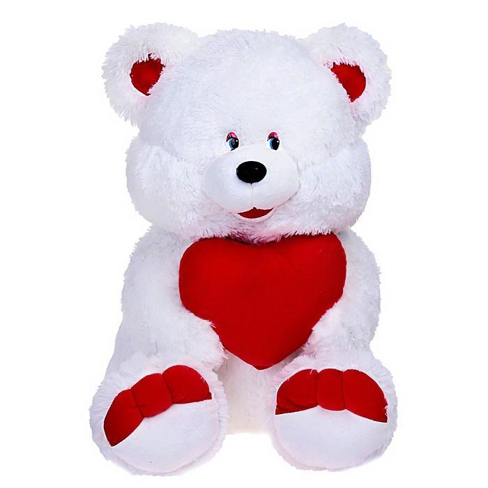 """Мягкая игрушка """"Медведь белый, с сердцем"""", МИКС"""