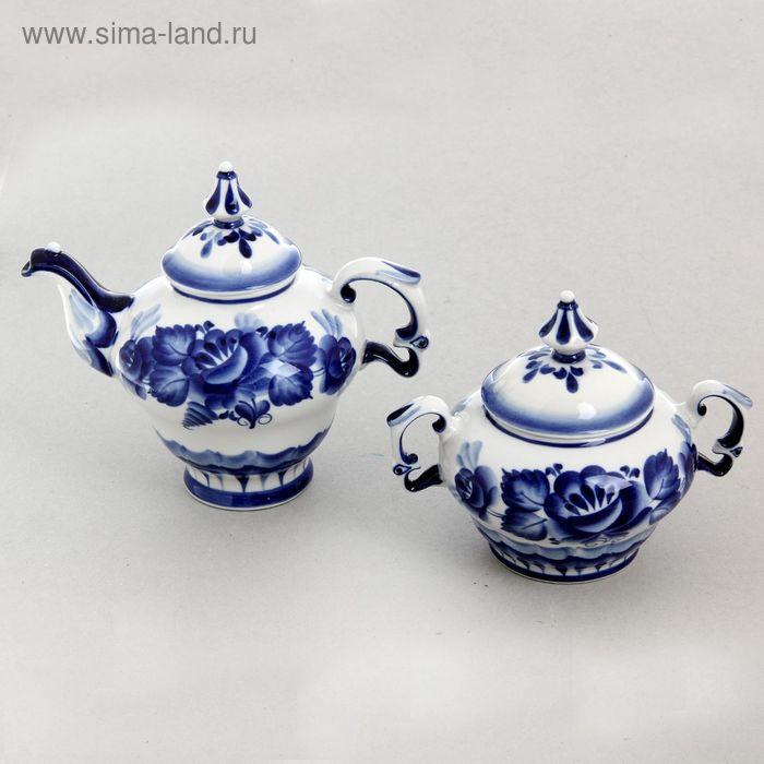 Набор «Чайный», гжель, 2 предмета: чайник 800 мл, сахарница 300 гр