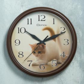 """Часы настенные круглые """"Котенок"""", коричневый обод, 24х24 см"""